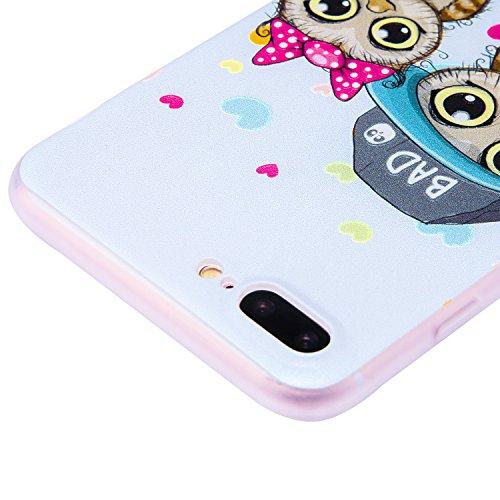 Ecoway iPhone 7 Plus/8 Plus (5,5 zoll) Case Cover, TPU Gommage en relief Soft Motif de placage en couleur personalized pattern Housse en silicone Housse de protection Housse pour téléphone portable po hibou