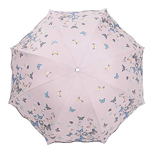 Lirener Farbwechsel Regenschirm, Faltbar Kompakt Vinyl Sonnenschirm UV-Schutz Winddicht Regenschirm,...