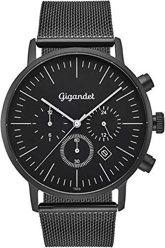 Gigandet cuarzo reloj de pulsera para hombre Minimalism III Dual Tiempo Reloj Fecha Analógica Milanaise Acero Inoxidable Pulsera Negro G22–007