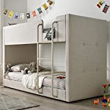 Happy Beds Kids Bunk Bed, Saturn Oatmeal Neutral Fabric Modern Twin Sleeper - 3ft Single (90 x 190 cm) Frame Only