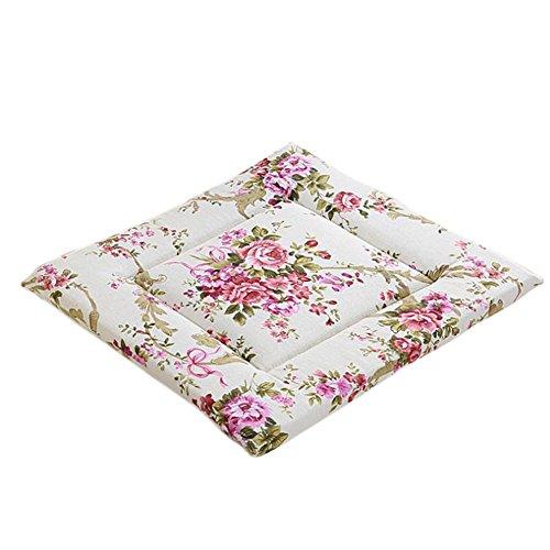 Doitsa Sitzkissen Stuhlkissen 40x40cm weiche Sitzkissen Polster für Stühle Gartenmöbel für drinnen und draußen aus 100% Baumwolle (Lila Rose Blume)