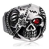 Aundiz Edelstahl Ring Monokulares Skelett Zirkonia Punk Vintage Zirkonia Silber Ring Herren Ring