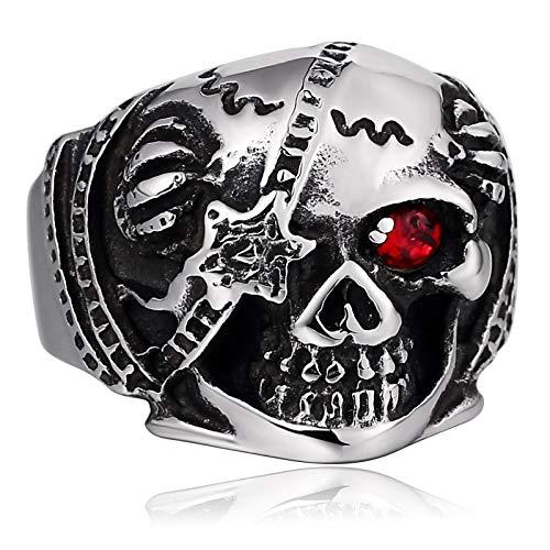Knsam anello da uomo anello in acciaio inox scheletro monoculare cubic zirconia argento dimensione 25