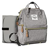 Wide Open Designer Baby Diaper Backpack By Moskka–Travel Bag, Nappy Tote Bag w/ Stroller Straps, Changing Pad & Insulated Pocket For Mom & Dad -Grey …