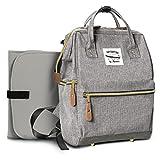 Geräumige Designer Baby-Wickeltasche von Moskka – Reisetasche, Windeltasche mit Befestigung für Kinderwagen, Wickelauflage & Isolierte Tasche, für Jungen – Grau