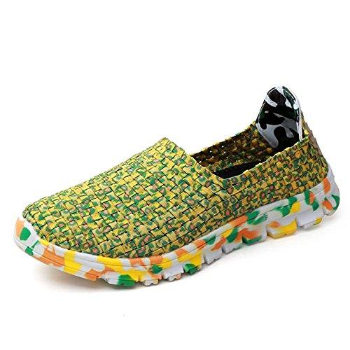 HILOTU Camouflage-atmungsaktive Sportschuhe Für Damen Und Herren Flacher Slip-On-Sneaker Mit Gummiband Und Rastermuster Handgestrickte Hohlwanderschuhe (Color : Gelb, Größe : 43 EU)
