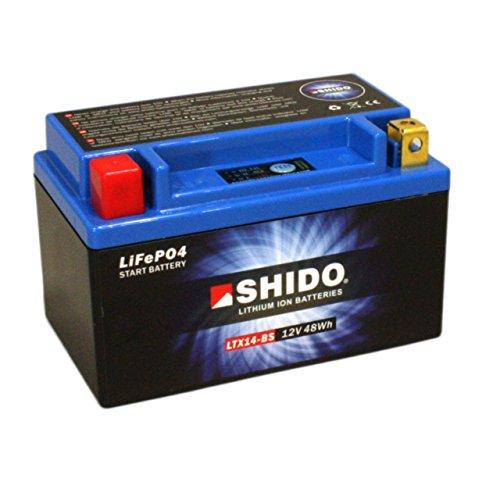 Batterie al litio SHIDO LTX14-BS/ytx14-BS, 12V/12AH (dimensioni: 150X 87X 145) per Triumph Speed Triple 1050anno di costruzione 2014