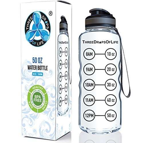 Best, Sport Wasser Flasche–Made für hohe Kapazität Hydration–Tritan Kunststoff, BPA-frei, Flip Top–Auslaufsicherer Deckel–beliebtesten New Produkt | Design-Laynard starken für jeden 50oz - Produkte Beliebteste
