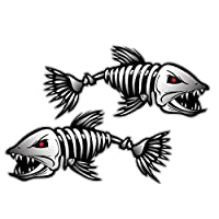 MagiDeal Pack of 2 Skeleton Fish Bones Vinyl Decal Sticker Kayak Fishing Boat Car Graphics