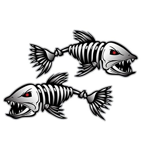 2 Stück Fisch Skelett Aufkleber Abziehbilder, Angelboot Auto, Fenster, Laptop ...Sticker