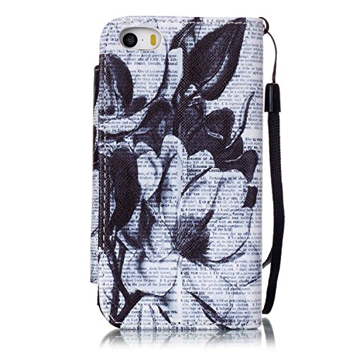 iPhone 5S Hülle, ISAKEN iPhone 5S 5 Hülle Muster, Handy Case Cover Tasche for iPhone 5S/5, Bunte Retro Muster Druck Flip Cover PU Leder Tasche Case Schutzhülle Hülle Handy Tasche Etui Schale mit Stand Zeitung Blumen
