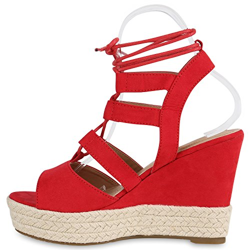 Schicke Damen Sandaletten | Sandalen mit Keilabsatz Veloursleder-Optik | Plateau Sandaletten Bast | Sommer Wedges Fransen Schleifen | Party Abiball Hochzeit Brautschuhe Rot Bast