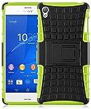 Sony Xperia Z3 Outdoor Hülle | JAMMYLIZARD Schutzhülle [Alligator] Doppelschutz Handyhülle Hardcase aus Polycarbonat und Silikon Backcover Lifeproof Case Cover, Limonengrün