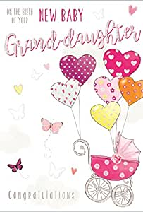 "New Baby Granddaughter Greetings Card - Pink Pram & Heart Balloons 7.75"" x 5.25"""