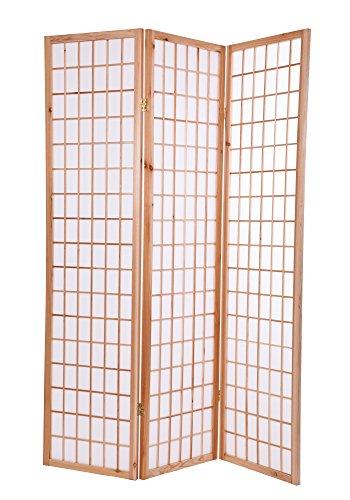 Paravent Raumteiler Trennwand Sichtschutz Holz Natur / Weiß 3 Teilig
