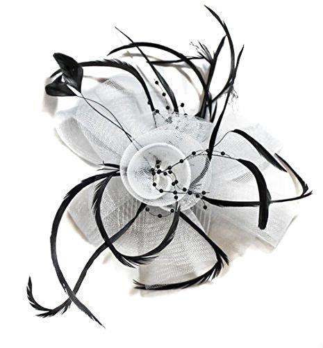 Fascinator mit schwarzen Federn, für Hochzeit/Ascot, auf Kamm befestigt, Weiß