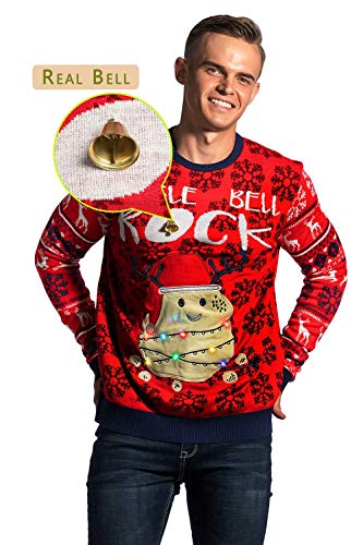 You Look Ugly Today Unisex Herren Weihnachtspullover LED Light Sweater Pullover Pulli Xmas Sweatshirt Weihnachtspulli Hoodie Jumper mit Weihnachtlichen Motiven für Weihnachtsparty