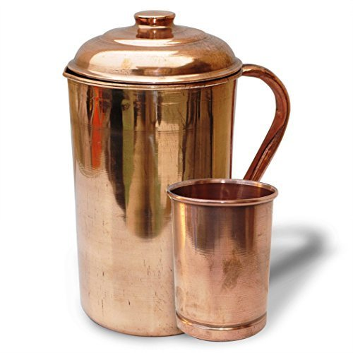 Copper Jug with Copper Tumbler Handmade Indian Copper Utensils Ayurveda Healing by Hand Made