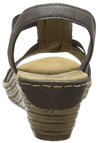 Rieker 62471-45, Sandales Compensées femme Gris - Gris