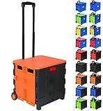 WOLTU EW4802or-1 Einkaufswagen klappbar Einkaufstrolley Klappbox Shopping Trolley Faltbox Transportwagen