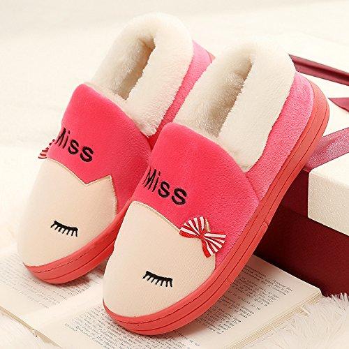 DogHaccd pantofole,Piscina inverno uomini e donne paio di pantofole di cotone femmina con formula all-inclusive home a caldo con spesse pantofole di peluche scarpe invernali. Il rosso4