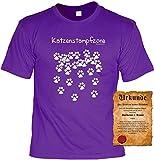 Achtung: Katzenstampfzone Katzen T-Shirt mit Zweibeiner Besitz-Urkunde Gr: XL Farbe: Lila