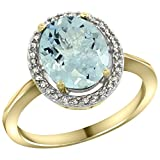 9ct Yellow Gold Diamond Halo Natural Aquamarine Ring Oval 10X8 mm, size T Bild