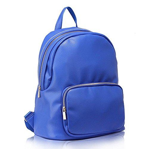 Damen Rucksack Schule Taschen Damen Qualtiy Mode Faux Leder Handtasche Gold Metall Arbeit Mit Zwei Einstellbar Schulter Startet und Vorderseite Reißverschluss Tasche Blau