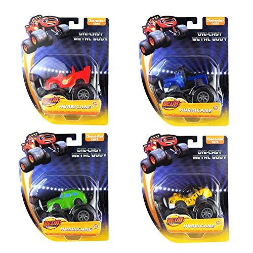 SHYYTYOU 4Pack Blaze The Monster Machines Fahrzeug, Jungen und Mädchen Spielzeug Brecher LKW Fahrzeuge, Blaze, Zeg, Stripes, Starla, Darington, Pickle - Monster-lkw-spielzeug Mädchen,