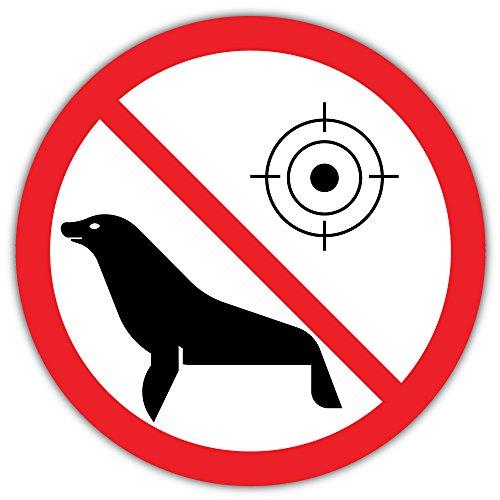 No Seal Animal Hunting Prohibition Sign Bumper Sticker Vinyl Art Decal for Car Truck Van Wall Window (24 X 24 cm)