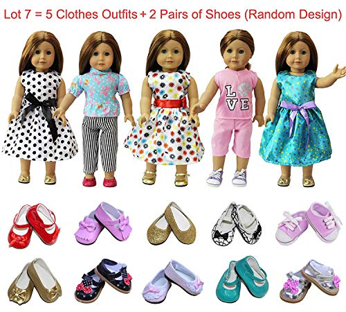 ZITA ELEMENT American 18 Inch Girl Doll Clothes & Accessories | 5 Outfits and 2 Shoes (Random Style) for 18 Inch (45 - 46 cm) Dolls