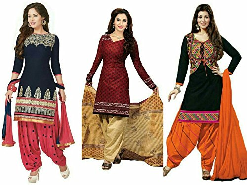 Market Magic World Women\'s Printed Unstitched Regular Wear Salwar Suit Dress Material (Combo pack of 2)(MMW_Combo_7077)(MMW_3046_Red)(MMW_3047_Yellow)