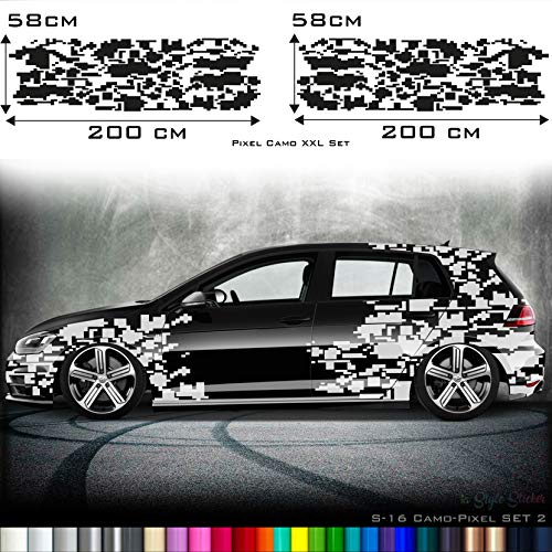 Auto Camouflage Aufkleber Set Cyber PixelAutotattoo Car-Style Sticker Hexa Matrix Style S16