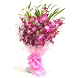Floralbay Bunch of 8 Purple Orchids in Cellophane Packing
