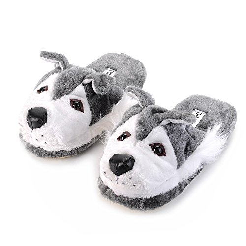 DIMDIM Cute Winter Home Husky Tier Hausschuhe mit hoher Qualität Plüsch Upper & Anti-Skip-Sohle (Color : Husky, Size : L)