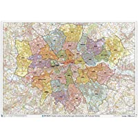 "Greater London Authority Boroughs with Postcode Districts Wall Map - 47"" x 33.25"" Laminated"