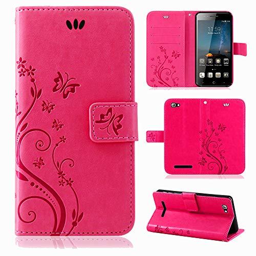betterfon | Flower Case Handytasche Schutzhülle Blumen Klapptasche Handyhülle Handy Schale für ZTE Blade A612 Pink