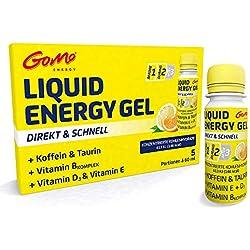 GoMo ENERGY® ENERGÍA LÍQUIDA GEL DE VITAMINA | + Cafeína + Vitamina D + Vitamina E + Complejo de Vitamina B | Carbohidratos concentrados para un mejor rendimiento y resistencia | Sabor cítrico 5 x 60 ml mono porción