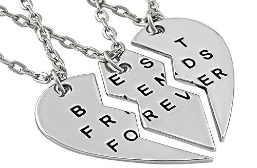 Hanessa Freundschafts-Halskette für Mädchen in Silber (3 Stück) Best Friends Forever Liebe Herz - Mutter-töchter-halskette, 3 Stück
