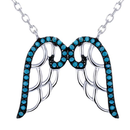 YAZILIND Engelsflügel 925 Sterling Silber Türkis Perlen Anhänger Halskette