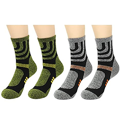 Waymoda 4 Pairs Unisex Walking Socks, Breathable, Quick Drying, Arch Support, No Blister Thermal Sox, Outdoor Sports Athletic Running Hiking Camping Trekking, Men Women Boys Girls UK 3-12/EUR 36-45