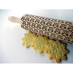 Nudelholz mit EULEN für hausgemachtes Gebäck