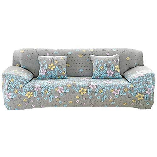 AOLVO Removable Sofa Cover 1 / 2 / 3 / 4 Anti-Dirt, Elastic and Patterned Squares with Flower Pattern Sofa Protector Furniture