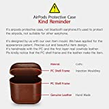 AirPods Case, Icarer Premium Genuine Leather Portable Shockproof Protective Cover for Apple AirPods Earphones Charging Case (Brown)