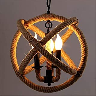 BAYCHEER Vintage Hemp Rope Ceiling Lamp Chandelier Pendant Light Country Style with adjustable Chain E12 / E14