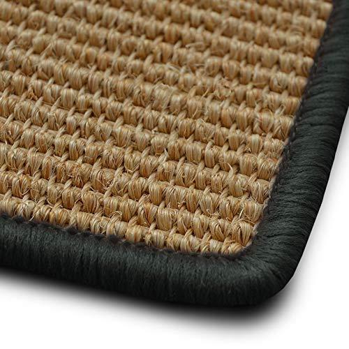Stufenmatten myStyle 15er Spar Set | Kettelung in Wunschfarbe | 100 % Naturfaser Sisal | rechteckig | stabiler Halt dank Winkelschiene (Kettelung Dunkelgrau)