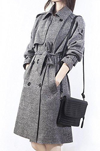 Les Femmes L'hiver Élégant À Double Boutonnage, Vérifié Le Style Anglais Garnis Trenchcoat Vêtements Avec Ceinture Grey