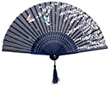 Hosaire Plegable Abanico de Tela y Bambú de Estilo Japones de Color Azul con Dibujo Sakura y Mariposas