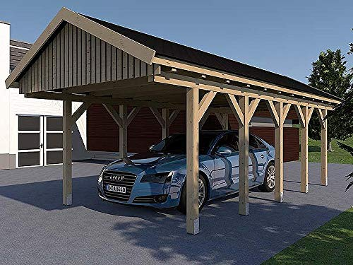 Carport Satteldach LE MANS III 400cm x 800cm KVH Bausatz Konstruktionsvollholz