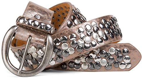 styleBREAKER Nietengürtel mit echtem Leder im Vintage Style, kürzbar 03010024, Farbe:Antik-Champagner;Größe:100cm (Runde Champagner)